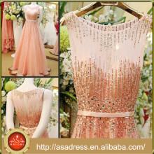 CWD7 generoso lleno rebordeados vestidos de noche 2015 de alta calidad sin mangas suave A-línea flor-longitud vestido formal de cristal
