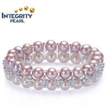 Neuer Entwurfs-Perlen-Armband 8-9mm AAA nahe runder doppelter Reihen-Sterlingsilber-Mischfarben-Perlen-Armband