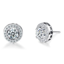 925 sterling silver simple single diamond men earring