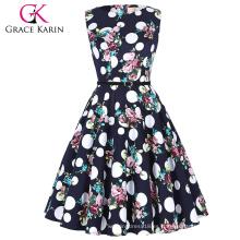 Grace Karin tamaño más sin mangas baratos cortos de cosecha de retro patrón de flores vestidos de algodón vestido 50s CL6086-53