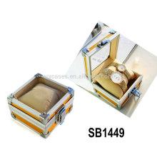 caixas de relógio de alumínio para único relógio com um tampo de vidro e um travesseiro dentro