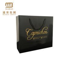 Fabrik Großhandel Benutzerdefinierte Schwarz Fancy Glossy Heißprägeseil Griffe China Geschenk Papiertüte Hersteller