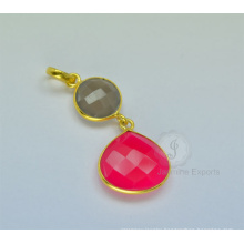 Designer Hot Pink Chalcedony Gemsotne Necklace For Women In Wholesale Price