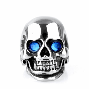 Europe style Titanium Crystal eye finger skull ring