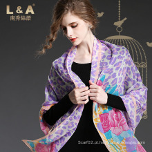 Senhora Purple Leopard Print Seda Georgette Long Scarf Shawl