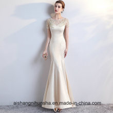 Sexy Formal Evening Gown Scoop Satin Appliques Beading Evening Dress