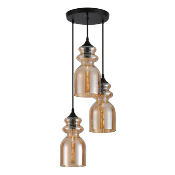 Amber Glass Shade Pendant Light com 3 lâmpadas