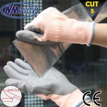 Nível de corte NMSAFETY 5 pu revestido sem luvas de corte