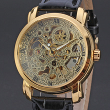 winner vintage skeleton watch with leather band