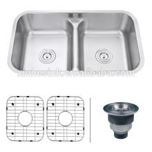 33 polegadas cUPC aço inoxidável Undermount Low Divider Kitchen Sink com dupla tigela