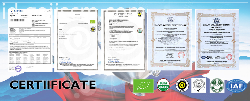 High Quality Chinese Organic Black Goji certificate