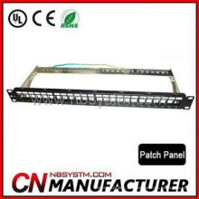 24 portas STP Blank Patch Panel 19 '' 1U com barra traseira, disponível para Cat5e ou Cat6 Keystone Jacks