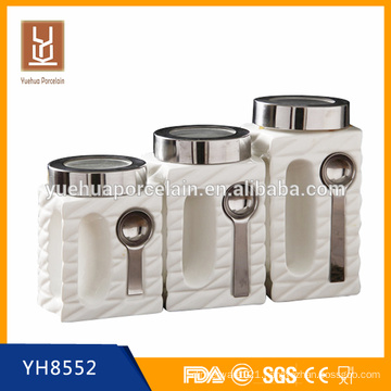 2015 new design ceramic tea canister with spoon