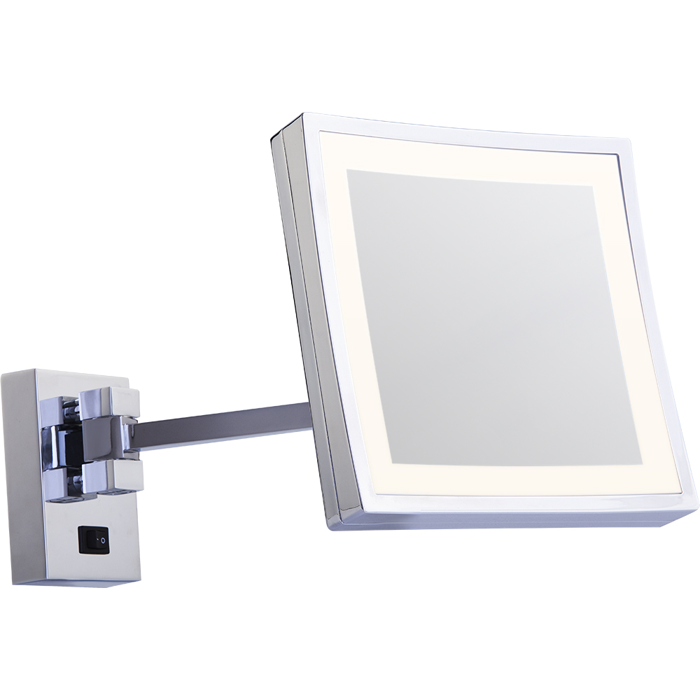 Square makeup mirror with lights