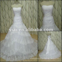 JJ2758 Ball Gown Strapless Big Lace Skirt Long Train Wedding gown