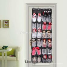 Tecido de oxford doméstico sobre a porta pendurado organizador de sapato de homens com 24 bolsos de malha