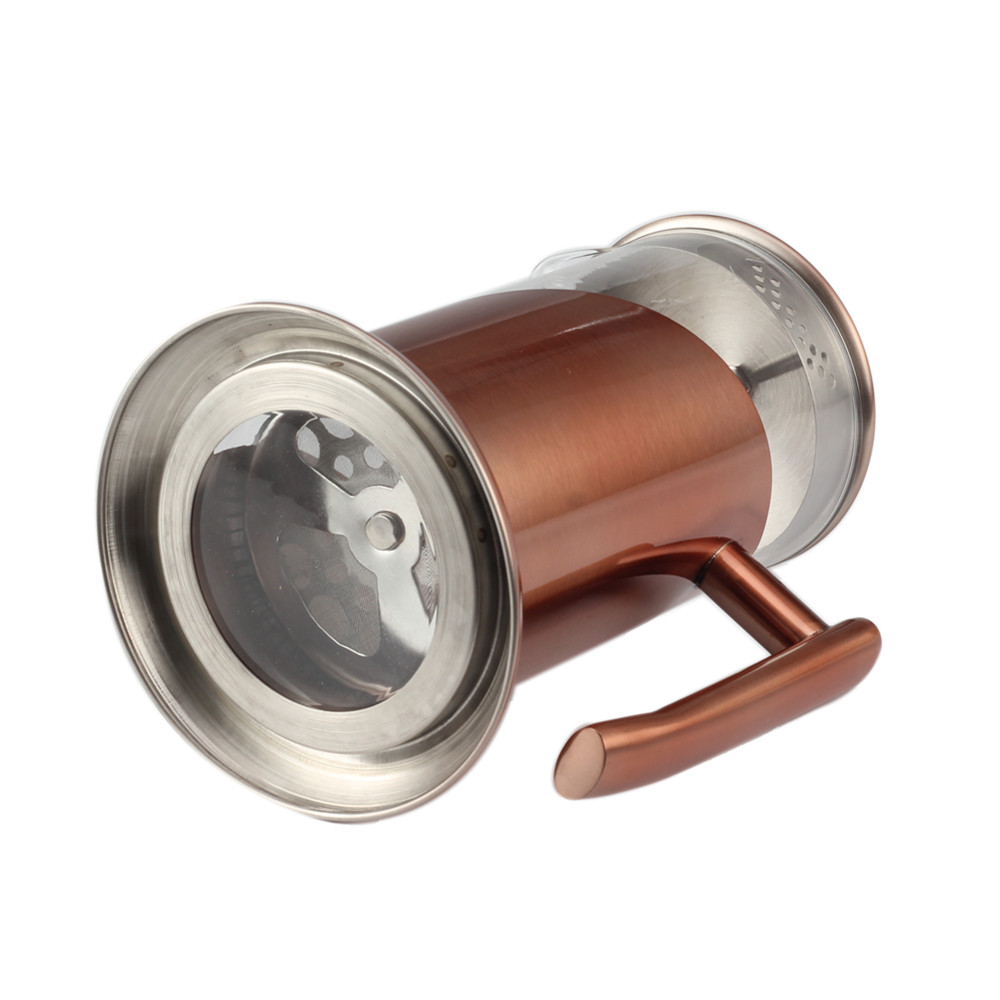 Copper Stainless Steel Frame Glass French Press With Base