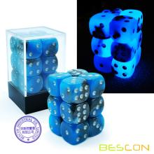 Bescon dos tonos dados luminosos D6 16mm 12pcs Set BLUE DAWN, 16mm Six Sided Die (12) Bloque de dados luminosos