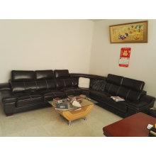U forma de cuero, sofá moderno, Color negro sofá (A302)