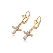 97289 bijoux xuping 2018 meilleure vente mode 18K boucles d'oreilles croix de couleur pour les femmes