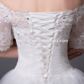 2016 new design korea style off shoulder floor length nude wedding dress with big train