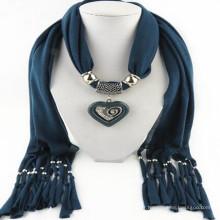 Charme élégant de glands de mode de femmes strass décoré bijoux pendentif écharpe collier en gros