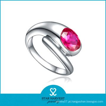 Vermelho estilo americano anel de casamento de prata (r-0503)