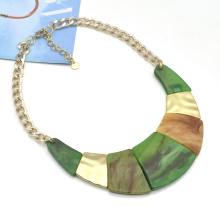 2020 2021 Winter fall stainless steel chunky collar jewelry for women acrylic moon statement choker necklace