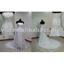 YA0020 sleveless tren largo sirena de encaje vestido de novia nupcial 2013
