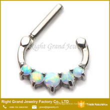Stainless Steel White Synthetic fire Opal Septum Clicker Nose Ring