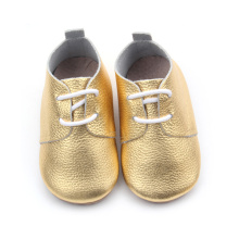 Wholesales Shining Gold Leather Oxford Shoes for Kids