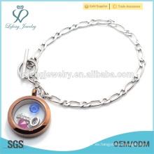 Acero inoxidable magnético 1: 1 NK Chain pulsera de locket flotante, pulsera de plata y chocolate locket