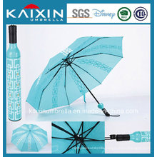 ISO 9001 Advertising Wine Bottle Shape Folding Umbrella