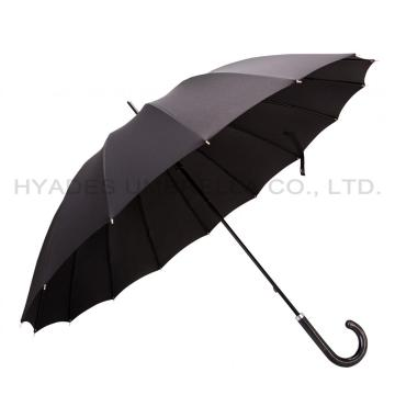 Schwarz 16 Rippen Strong Manual Open Straight Umbrella
