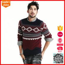 Moda mangas largas suéter de tejer moderno suéter de punto de acrílico 100%