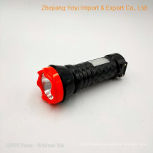 Cheap Plastic LED Torch Flashlight with Side COB LED