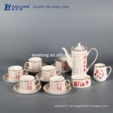 Nueva china de hueso Caligrafía tradicional china 15 piezas de café de cerámica conjunto