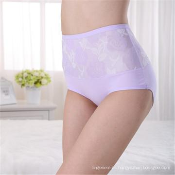 Ropa interior de alta cintura bordado para las mujeres Pure Color Underwear mujeres libre muestra ropa interior sexy de moda