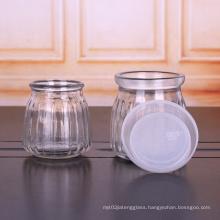 Cheap Round 200ml 7oz Pumpkin Shaped Pudding Yoghourt Glass Jar with Plastic Cap