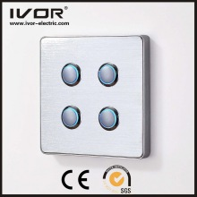 4 Gangs Lighting Switch Touch Panel Matériau en alliage d'aluminium (RD-ST1000L4)