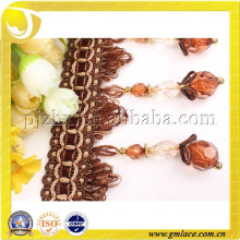 Franja de cuentas de decoración, bordado de franjas de acrílico