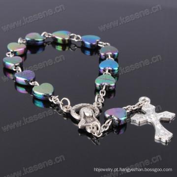 Cristal colorido plástico Beads Saint medalha rosário pulseira