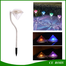 Outdoor Stainless Steel LED Solar Path Way Light RGB Diamend Garden Lawn Landscape Lamp