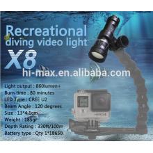 Le plus récent! Hi-max X8 120 Beam Angle Video Dive Torch