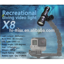 New product! diving torch for underwater Video LED Flashlight