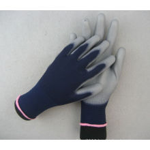 13G Polyester Liner Double Blue PU Work Glove