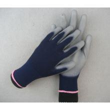 13 г полиэстер лайнер двойной синий PU работы перчатки
