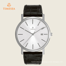 Classic Silver Dial Genuine Black Leather Strap Men′s Watch 72272