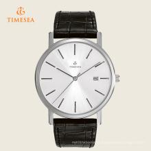 Relógio de Prata Clássico Genuine Black Leather Strap Men 's Assista 72272