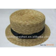 flat brim wheat straw top hat